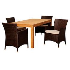 Vicenza Teak Rectangular Patio Dining Set with Off-White Cushions (5 pcs.)