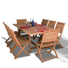 Varese Teak Extendable Rectangular Patio Dining Set (9 pcs.)