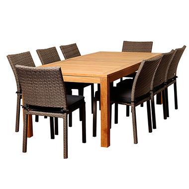 Zaragoza Teak Wicker Rectangular Patio Dining Set With Gray Cushions 9 Pcs
