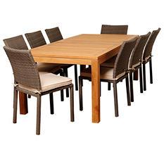 Zaragoza Teak/Wicker Rectangular Patio Dining Set with Off-White Cushions (9 pcs.)