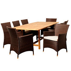 Vicenza Teak/Wicker Extendable Rectangular Patio Dining Set with Off-White Cushions (9 pcs.)