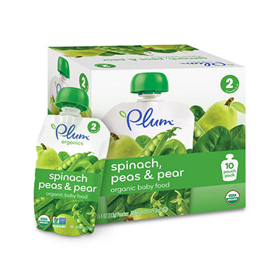 Plum Organics Spinach Peas & Pear Baby Food (4 oz., 10 Pouches)