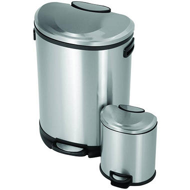 URISE� Semi-Round Stainless Steel Trash Cans - 2 ct.