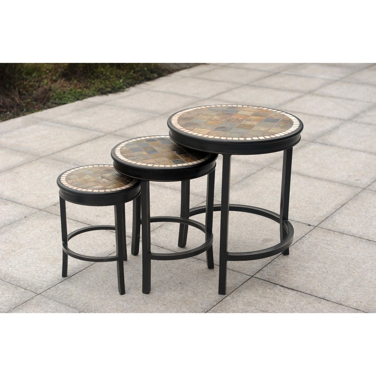 heirloom slate outdoor patio 7pc dining set 3pc accent