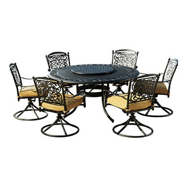 Renaissance 8 pc Outdoor Patio Dining Set with Premium Sunbrella Fabric