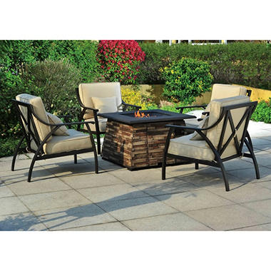 Wishbone 5 pc. Fire Chat Set - Liquid Propane Fire Pit with Cover and 4 Chairs