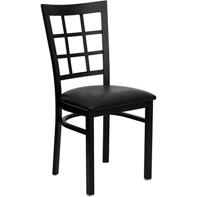 Hospitality Chair - Black Metal - Window Back - Black Vinyl Upholstered Seat - 16 Pack