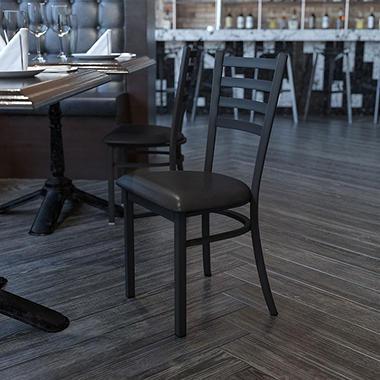 Hospitality Chair - Black Metal - Ladder Back - Black Vinyl Upholstered Seat - 1 Pack