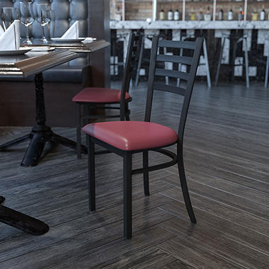 Hospitality Chair - Black Metal - Ladder Back - Burgundy Vinyl Upholstered Seat - 1 Pack