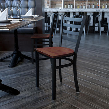 Hospitality Chair - Black Metal - Ladder Back - Cherry Finished Wood Seat - 1 Pack