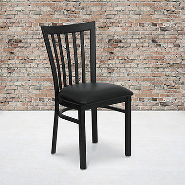 Hospitality Chair - Black Metal - School House Back - Black Vinyl Upholstered Seat - 1 Pack