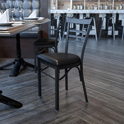 Hospitality Chair - Black Metal - Ladder Back - Black Vinyl Upholstered Seat - 1 Pack
