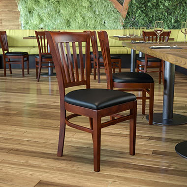 Hospitality Chair - Mahogany Wood - Vertical Slat Back - Black Vinyl Upholstered Seat - 1 Pack