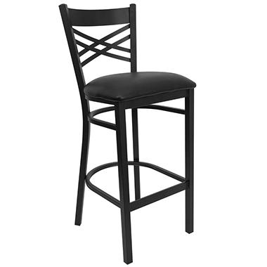 Hospitality Stool - Black Metal - X-Back - Black Vinyl Upholstered Seat - 4 Pack