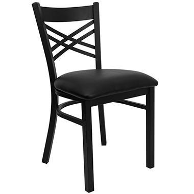 Hospitality Chair - Black Metal - X-Back - Black Vinyl Upholstered Seat - 4 Pack
