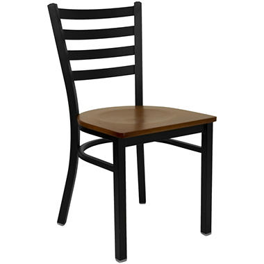 Hospitality Chair Black Metal - Ladder Back - Cherry Finished Wood Seat - 4 Pack