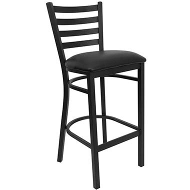 Hospitality Stool - Black Metal - Ladder Back - Black Vinyl Upholstered Seat - 4 Pack
