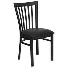 Hospitality Chair - Black Metal - School House Back - Black Vinyl Upholstered Seat - 4 Pack