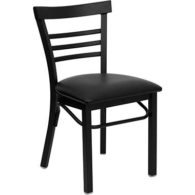 Hospitality Chair Black Metal - Ladder Back - Black Vinyl Upholstered Seat - 4 Pack