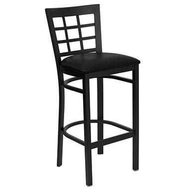 Hospitality Stool - Black Metal - Window Back - Black Vinyl Upholstered Seat - 4 Pack