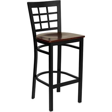 Hospitality Stool - Black Metal - Window Back - Mahogany Finished Wood Seat - 4 Pack
