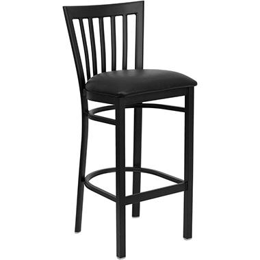 Hospitality Stool - Black Metal - School House Back - Black Vinyl Upholstered Seats - 4 Pack