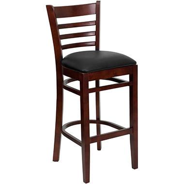 Hospitality Stool - Mahogany Wood - Ladder Back - Black Vinyl Upholstered Seat - 4 Pack