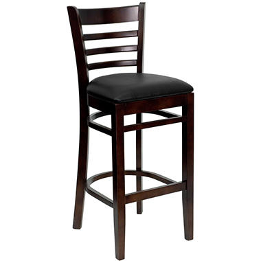 Hospitality Stool - Walnut Wood - Ladder Back - Black Vinyl Upholstered Seat - 4 Pack