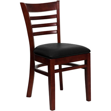 Hospitality Chair - Mahogany Wood - Ladder Back - Black Vinyl Upholstered Seat - 4 Pack