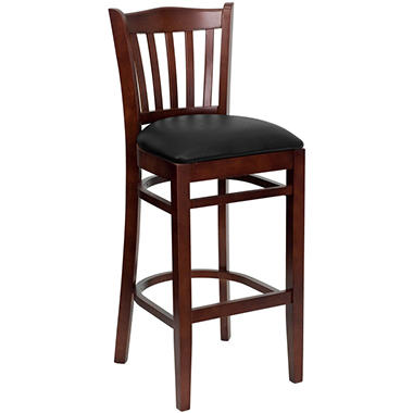 Hospitality Stool Mahogany Wood - Vertical Slat Back - Black Vinyl Upholstered Seat - 4 Pack