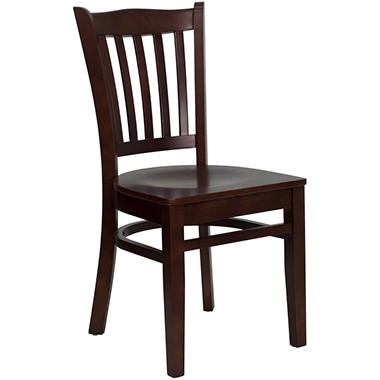 Hospitality Chair - Mahogany Wood - Vertical Slat Back - Beech Wood Seat - 4 Pack