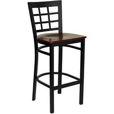 Hospitality Stool - Black Metal - Window Back - Mahogany Finished Wood Seat - 8 Pack