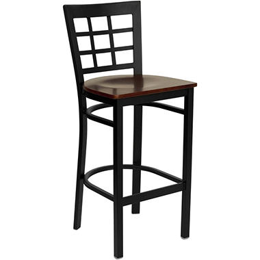 Hospitality Stool Black Metal - Window Back - Mahogany Finished Wood Seat - 8 Pack