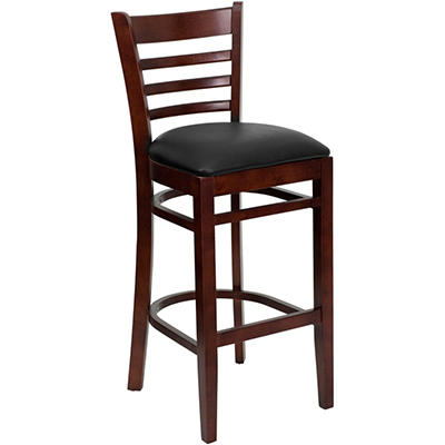 Hospitality Stool - Mahogany Wood - Ladder Back - Black Vinyl Upholstered Seat - 8 Pack
