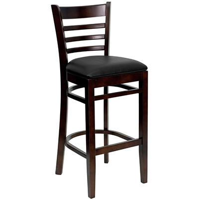 Hospitality Stool - Walnut Wood - Ladder Back - Black Vinyl Upholstered Seat - 8 Pack