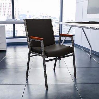 Hercules - Padded Vinyl Stacking Chair with Arms, Black
