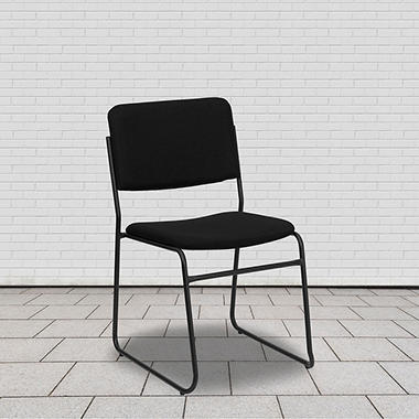 Hercules Fabric Stacking Chair with Sled Base - Black