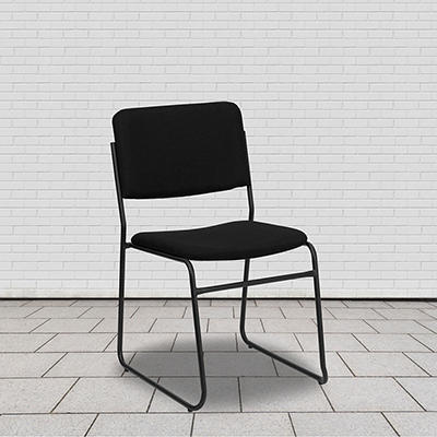 Hercules - Fabric Stacking Chair with Sled Base - Black