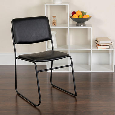 Hercules - Vinyl Stacking Chair with Sled Base - Black