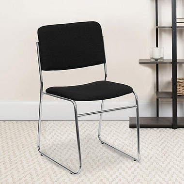 Hercules - Fabric Stacking Chair with Chrome Sled Base, Black