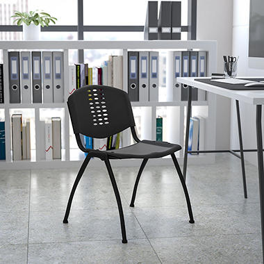 Hercules Polypropylene Stacking Chair with Perforated Back - Black