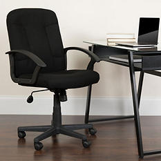 Flash Furniture Mid-Back Fabric Task & Computer Chair with Nylon Arms - Black