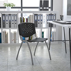 Hercules - Polypropylene Stacking Chair with Titanium Frame - Black
