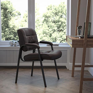 Flash Furniture Leather Reception Chair, Brown