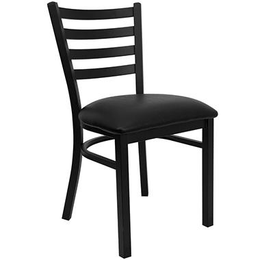 Hospitality Chair Black Metal - Ladder Back - Black Vinyl Upholstered Seat - 24 Pack