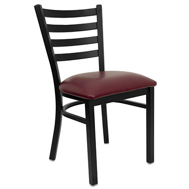 Hospitality Chair Black Metal - Ladder Back - Burgundy Vinyl Upholstered Seat - 24 Pack