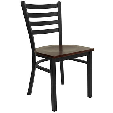 Hospitality Chair - Black Metal - Ladder Back - Mahogany Finished Wood Seat - 24 Pack