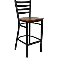 Hospitality Stool Black Metal - Ladder Back - Cherry Finished Wood Seat - 16 Pack