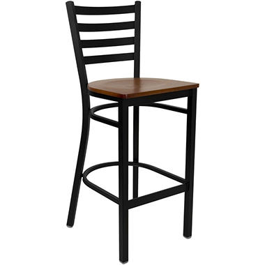Hospitality Stool - Black Metal - Ladder Back - Cherry Finished Wood Seat - 16 Pack