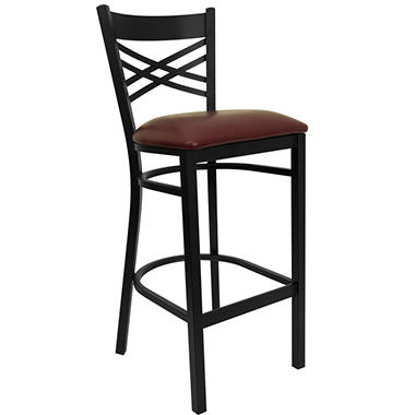 Hospitality Stool Black Metal - X-Back - Burgundy Vinyl Upholstered Seat - 16 Pack